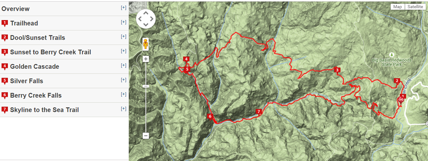 big basin hiking map