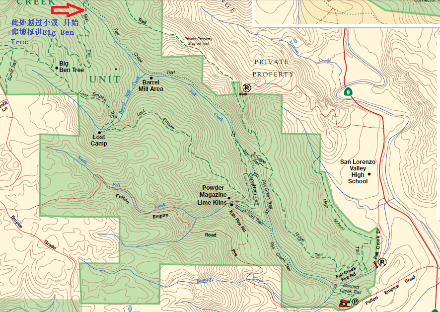 henry cowell redwoods state park_fall creek unit map