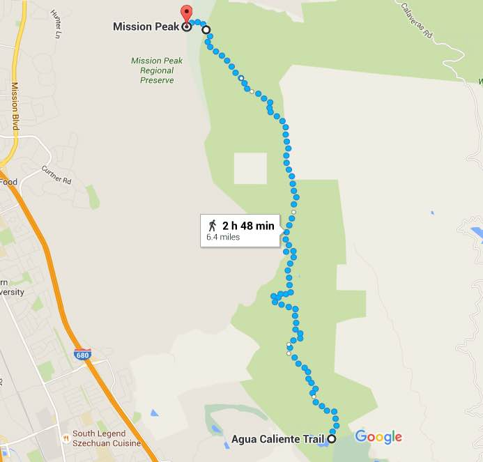 mission peak to ed levin park_map
