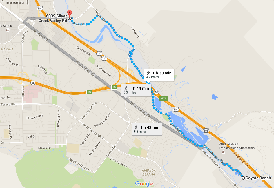Coyote Creek Parkway-Silver Creek Valley Rd-Coyote Ranch-trail map