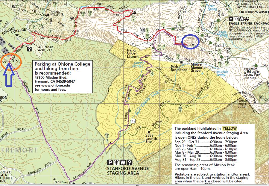 mission peak sunrise_trail map