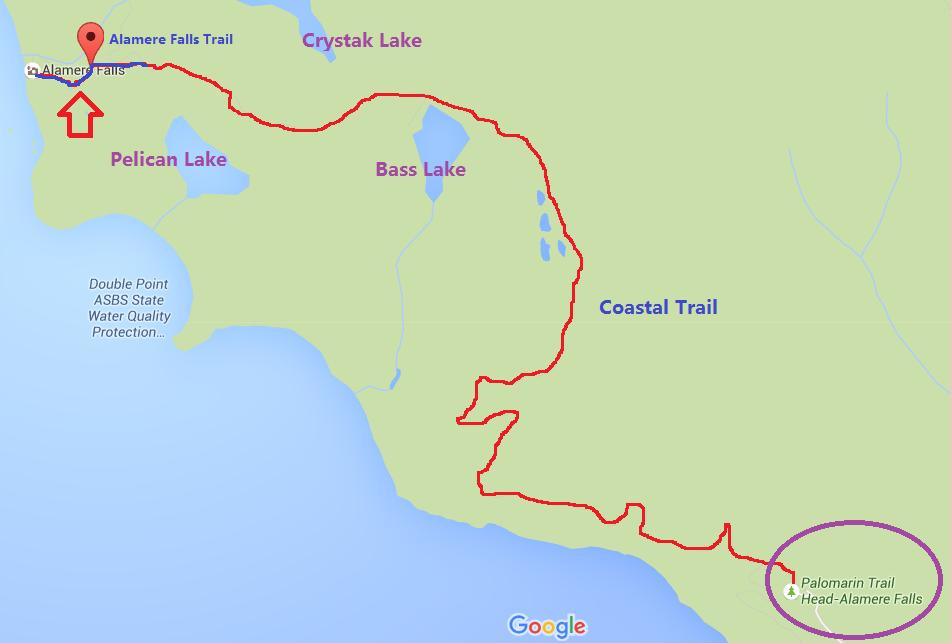 Alamere Falls from Palomarin Trailhead_trail map