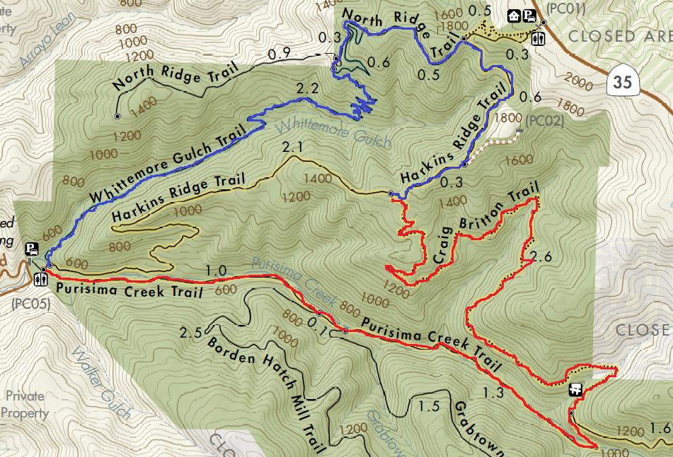 Purisima creek redwoods hiking map