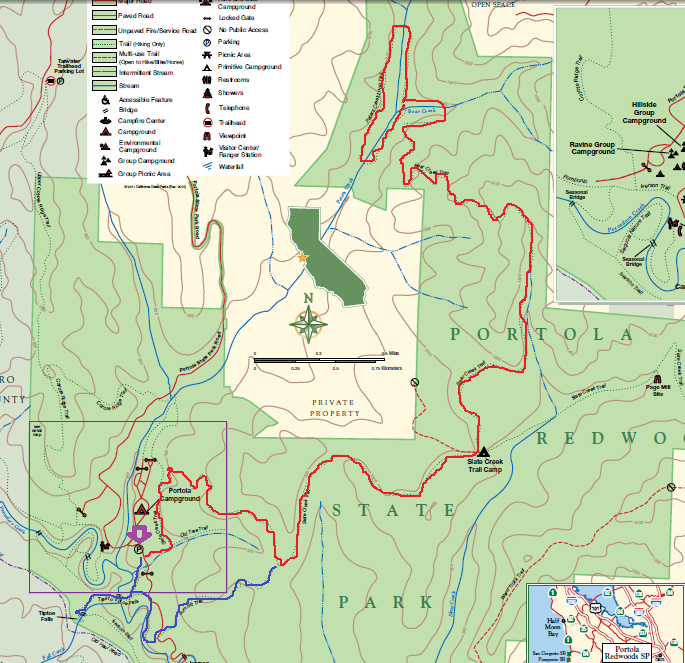 portola redwoods state park_hiking map